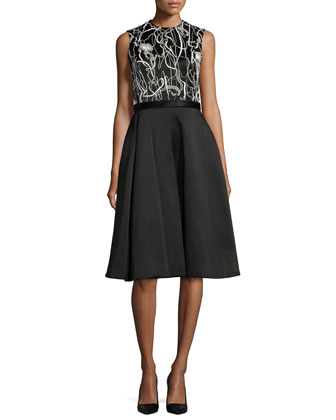 Scribble-Print A-Line Combo Dress, Chalk/Black