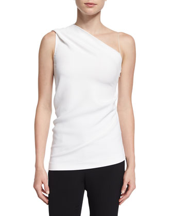 One-Shoulder Slim-Fit Top, White