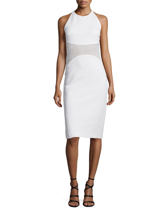 Halter-Neck Mesh-Inset Sheath Dress, White