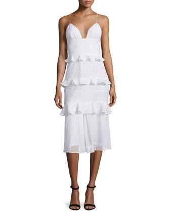 Sleeveless Tiered-Eyelet Bustier Dress, White