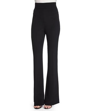 One-Shoulder Slim-Fit Top & High-Waist Flare-Leg Pants