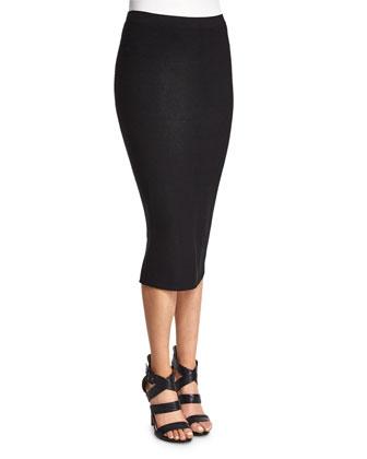 Slashed Long-Sleeve Crop Top & Mid-Rise Pencil Skirt, Black
