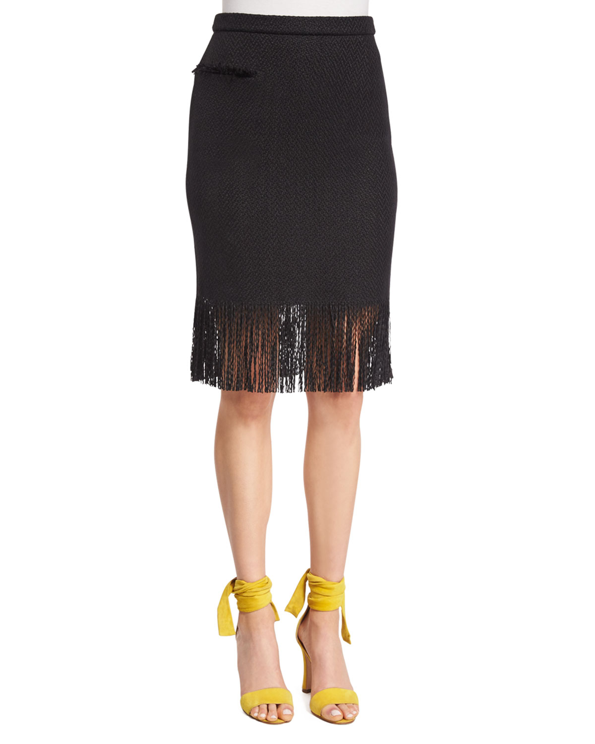 Pencil Skirt W/Fringe Hem, Black, Size: 0 - Adam Lippes