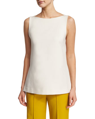 Sleeveless Bateau-Neck Tunic, Ivory