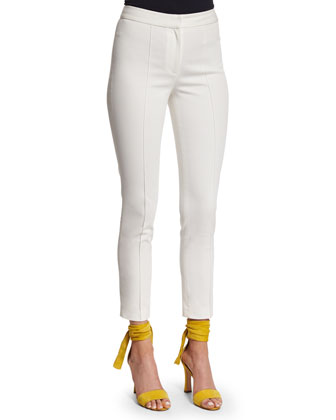 Slim-Leg Ankle Pants, Ivory
