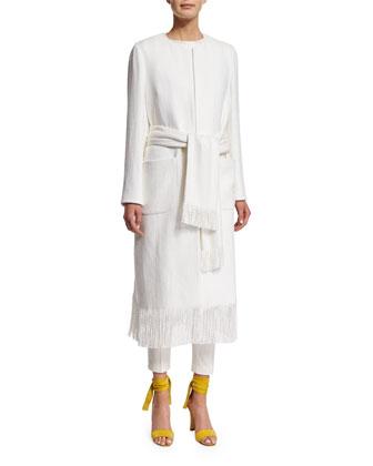 Jewel-Neck Tie-Waist Coat W/Fringe Trim, White