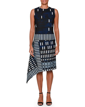 Sleeveless Domino-Print Dress, Ink Blue/White