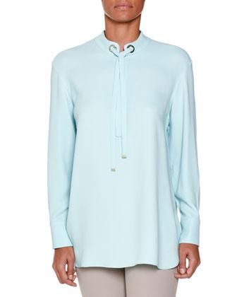 Long-Sleeve Tie-Neck Tunic, Aqua
