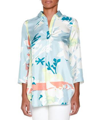 3/4-Sleeve Printed Pullover Tunic, Aqua/Multi
