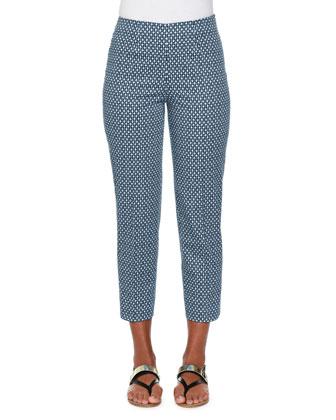 Audrey Bubble-Print Cropped Pants, Blue/Multi