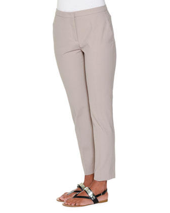Laura Slim-Fit Ankle Pants, Taupe