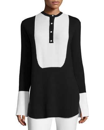 Honeycomb-Placket Two-Tone Sweater, Black