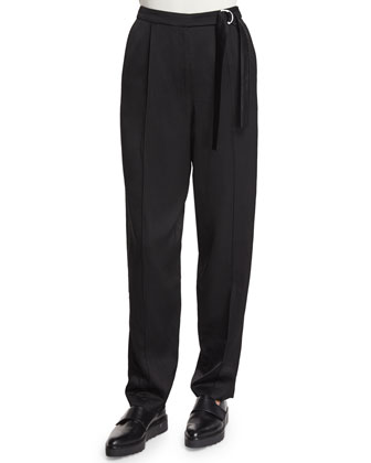 Tapered Wide-Leg Pants, Black