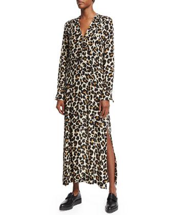 Long-Sleeve Pintuck Boyfriend Shirtdress, Leopard Splatter