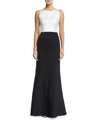 Sleeveless Two-Tone Trumpet Gown, White/Black