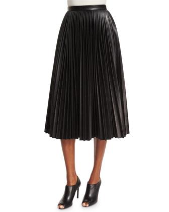 High-Waist Faux-Leather Pleated Skirt, Onyx