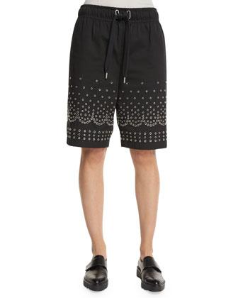 Grommet-Embellished Drawstring Shorts, Onyx