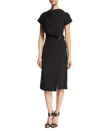 Drape-Front Cap-Sleeve Dress, Onyx