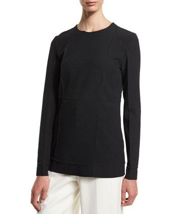 Long-Sleeve Fold-Detail Tunic Blouse, Onyx