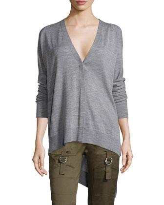 Long-Sleeve Asymmetric-Hem Cardigan, Gray Melange