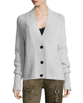 V-Neck Button-Front Cozy Cardigan, Gray