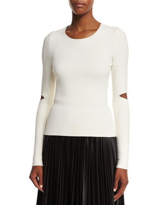 Long Split-Sleeve Pullover Top & High-Waist Faux-Leather Pleated Skirt