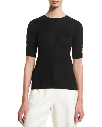 Half-Sleeve Ribbed Sweater, Onyx