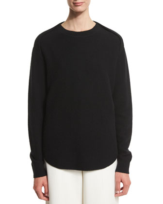 Long-Sleeve Striped Sheer-Back Sweater, Onyx