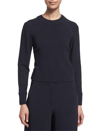 Long-Sleeve Tie-Back Sweatshirt & Tailored Culotte Pants
