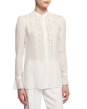 Long-Sleeve Embellished-Pintuck Blouse, Off White