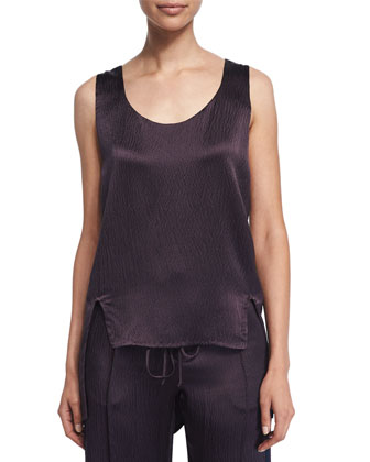 Scoop-Neck Split-Hem Tank, Maroon