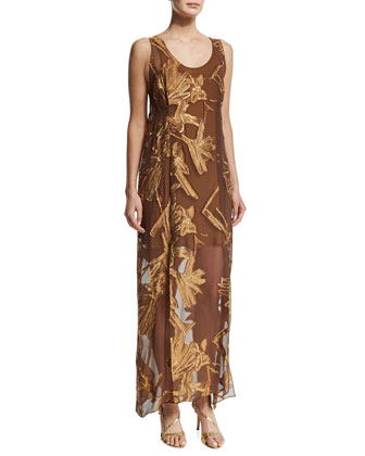 Sleeveless Embellished Tank Dress, Bronze