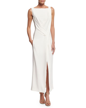 Sleeveless Drape-Front Sheath Dress, Cream