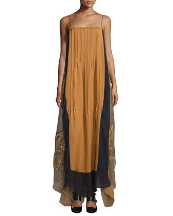 Sleeveless Colorblock Caftan Dress, Multi Colors