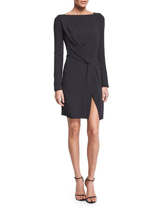 Long-Sleeve Drape-Front Dress, Navy