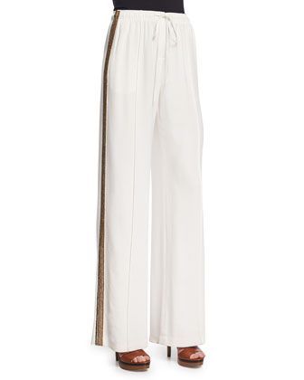 Drawstring-Waist Wide-Leg Pants, Off White