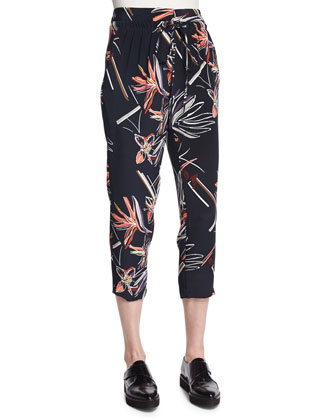Relaxed Floral-Print Slouch Pants, Navy Multi