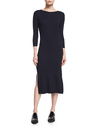 Long-Sleeve Cashmere Sheath Dress, Navy