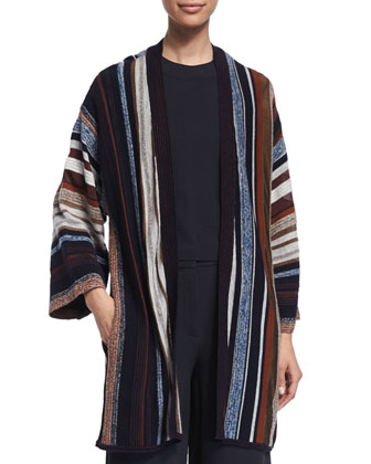 Long-Sleeve Striped Kimono Sweater, Multi Colors