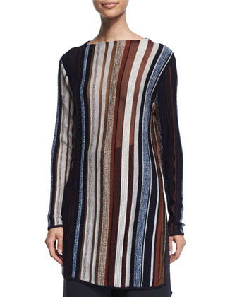 Long-Sleeve Striped Sheer Sweater, Multi Colors