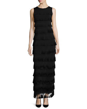 Sleeveless Tiered-Fringe Gown, Black