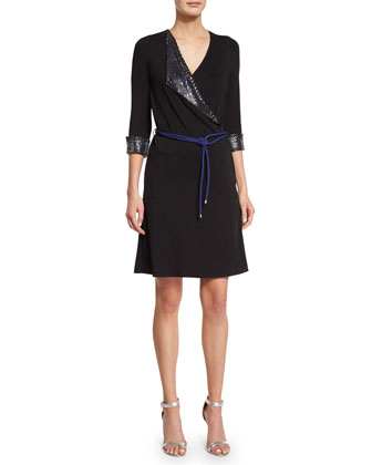 3/4-Sleeve Embellished Wrap Dress, Ink