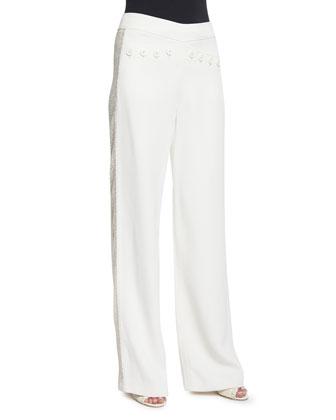 Fluted-Sleeve Cropped Jacket, Ivory