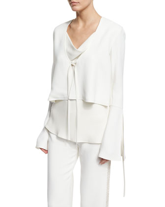 Fluted-Sleeve Cropped Jacket, Ivory