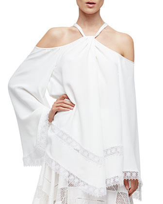 Cold-Shoulder Caftan Blouse, White