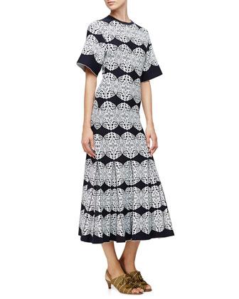Medallion-Lace Flared Dress, Black/Multi Colors