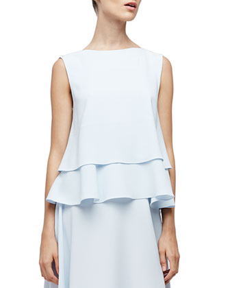 Sleeveless Layered-Hem Top, Baby Blue