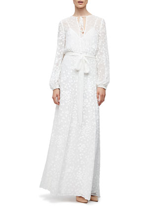 Long-Sleeve Floral-Embroidered Maxi Peasant Dress, White