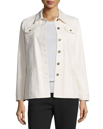 Long-Sleeve Peplum Jean Jacket, Ivory