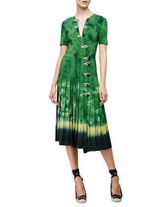 Tie-Dye Asymmetric Button-Front Dress, Ceramic Green